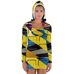 Colorful Docking Frame Women s Long Sleeve Hooded T-shirt
