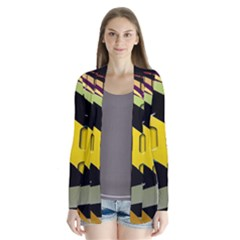 Colorful Docking Frame Drape Collar Cardigan
