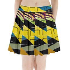 Colorful Docking Frame Pleated Mini Skirt