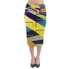 Colorful Docking Frame Velvet Midi Pencil Skirt