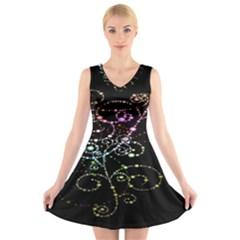 Sparkle Design V Neck Sleeveless Skater Dress