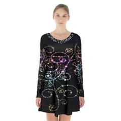 Sparkle Design Long Sleeve Velvet V Neck Dress