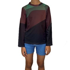 Color Vague Abstraction Kids  Long Sleeve Swimwear
