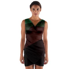 Color Vague Abstraction Wrap Front Bodycon Dress