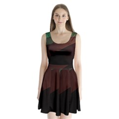 Color Vague Abstraction Split Back Mini Dress