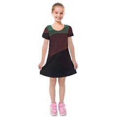 Color Vague Abstraction Kids  Short Sleeve Velvet Dress