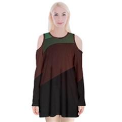 Color Vague Abstraction Velvet Long Sleeve Shoulder Cutout Dress