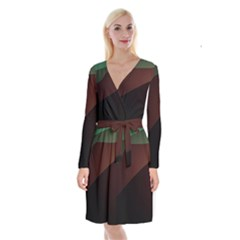 Color Vague Abstraction Long Sleeve Velvet Front Wrap Dress