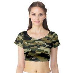 Military Vector Pattern Texture Short Sleeve Crop Top (Tight Fit)