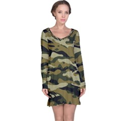 Military Vector Pattern Texture Long Sleeve Nightdress