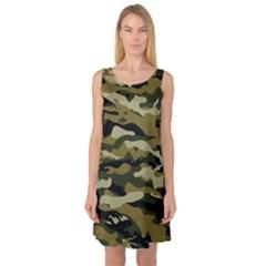 Military Vector Pattern Texture Sleeveless Satin Nightdress