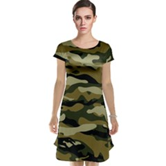 Military Vector Pattern Texture Cap Sleeve Nightdress