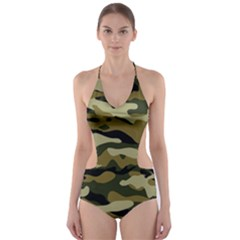 Military Vector Pattern Texture Cut Out One Piece Swimsuit