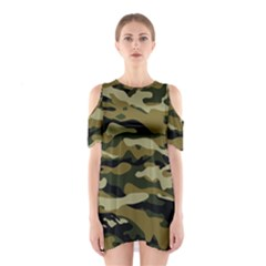 Military Vector Pattern Texture Shoulder Cutout One Piece