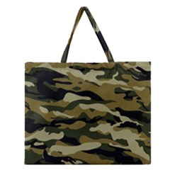 Military Vector Pattern Texture Zipper Large Tote Bag