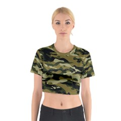Military Vector Pattern Texture Cotton Crop Top