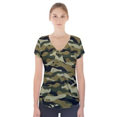 Military Vector Pattern Texture Short Sleeve Front Detail Top