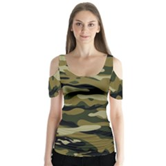 Military Vector Pattern Texture Butterfly Sleeve Cutout Tee