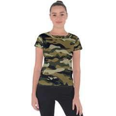 Military Vector Pattern Texture Short Sleeve Sports Top