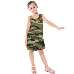 Military Vector Pattern Texture Kids  Sleeveless Dress