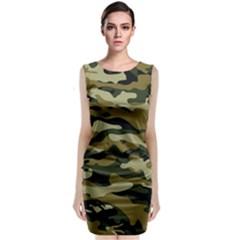 Military Vector Pattern Texture Sleeveless Velvet Midi Dress