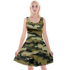 Military Vector Pattern Texture Reversible Velvet Sleeveless Dress