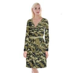 Military Vector Pattern Texture Long Sleeve Velvet Front Wrap Dress