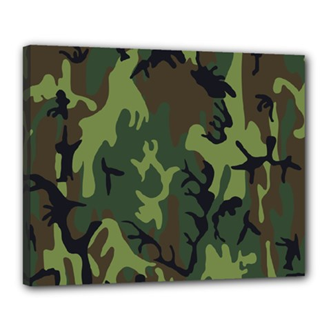 Military Camouflage Pattern Canvas 20  x 16