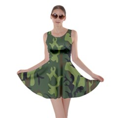 Military Camouflage Pattern Skater Dress