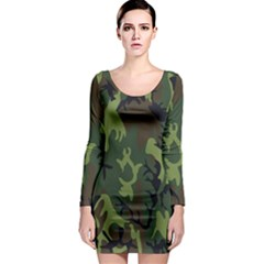 Military Camouflage Pattern Long Sleeve Bodycon Dress