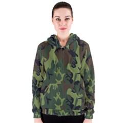 Military Camouflage Pattern Women s Zipper Hoodie