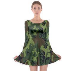 Military Camouflage Pattern Long Sleeve Skater Dress