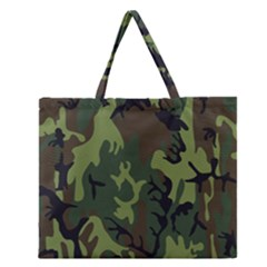 Military Camouflage Pattern Zipper Large Tote Bag