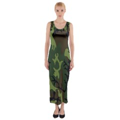 Military Camouflage Pattern Fitted Maxi Dress