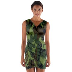 Military Camouflage Pattern Wrap Front Bodycon Dress