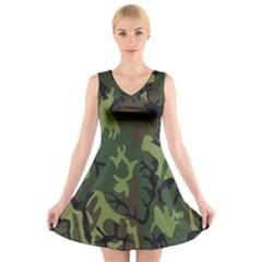 Military Camouflage Pattern V-Neck Sleeveless Skater Dress