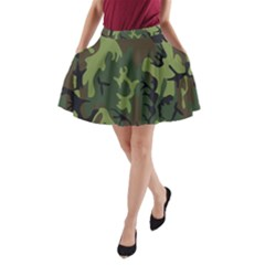 Military Camouflage Pattern A-Line Pocket Skirt