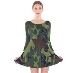Military Camouflage Pattern Long Sleeve Velvet Skater Dress