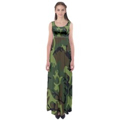 Military Camouflage Pattern Empire Waist Maxi Dress
