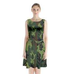 Military Camouflage Pattern Sleeveless Waist Tie Chiffon Dress