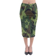 Military Camouflage Pattern Midi Pencil Skirt