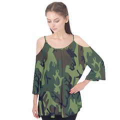 Military Camouflage Pattern Flutter Tees