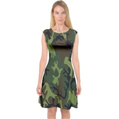 Military Camouflage Pattern Capsleeve Midi Dress