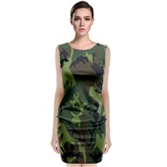 Military Camouflage Pattern Sleeveless Velvet Midi Dress