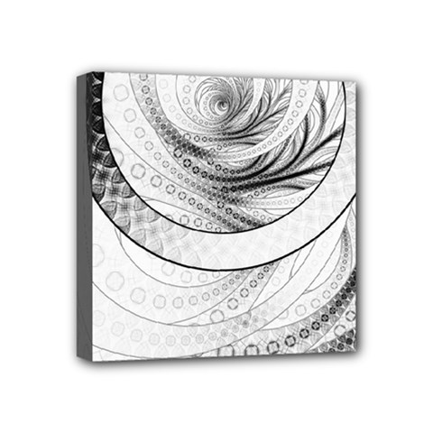 Enso, a Perfect Black and White Zen Fractal Circle Mini Canvas 4  x 4