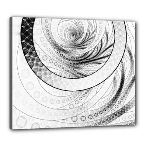 Enso, a Perfect Black and White Zen Fractal Circle Canvas 24  x 20