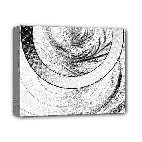 Enso, a Perfect Black and White Zen Fractal Circle Deluxe Canvas 14  x 11
