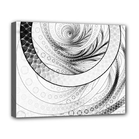 Enso, a Perfect Black and White Zen Fractal Circle Deluxe Canvas 20  x 16