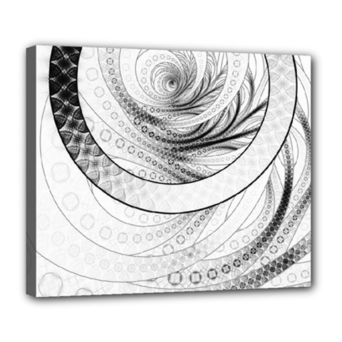 Enso, a Perfect Black and White Zen Fractal Circle Deluxe Canvas 24  x 20