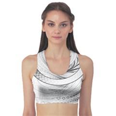Enso, a Perfect Black and White Zen Fractal Circle Sports Bra